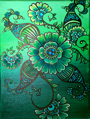 Green Mehndi Flower Eclectic Exotic Boho-Chic Contemporary Modern Art Painting by Ellie